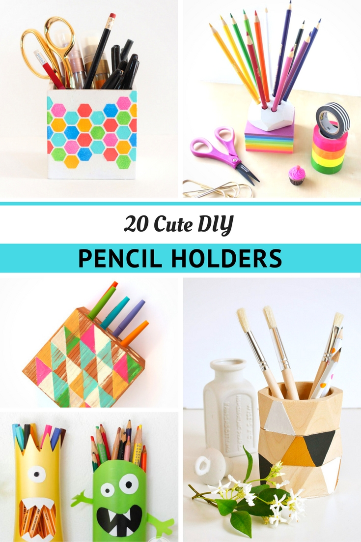 A photo of different DIY Pencil Holder Projects to make.